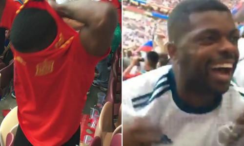CĐV Tây Ban Nha đổi áo để ăn mừng cùng người Nga