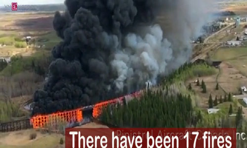 Canadian Rail trestle bridge goes up in flames