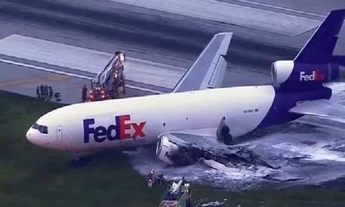 FedEx plane catches fire in Florida