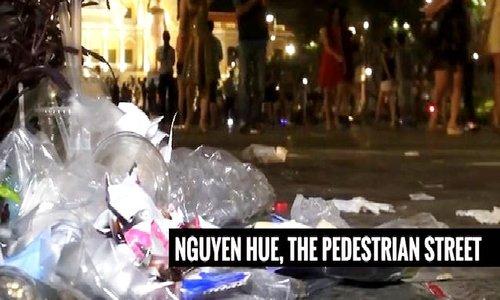 Saigon revelers leave piles of trash after Christmas Eve