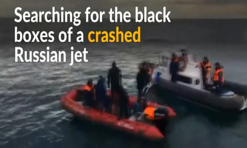 Russia hunts for black boxes of crashed military jet