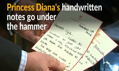 Letters by Princess Diana sell at auction
