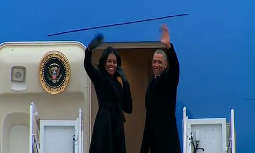 Obama departs D.C. for farewell address