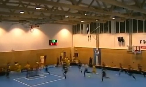 Czech floorball players dodge roof collapse