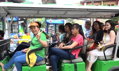 Taking an eco-bus around Saigon