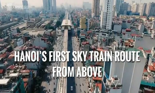 Hanoi's first sky train route from above