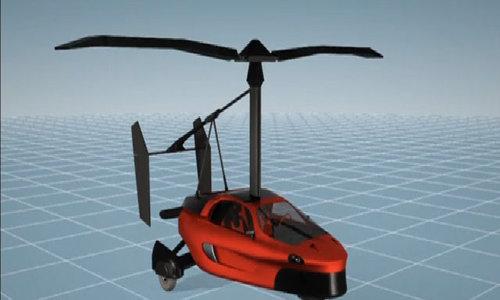 Three-wheel car turns into a flying gyrocopter