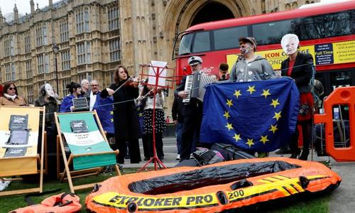 Pro-EU protesters gather outside Westminster