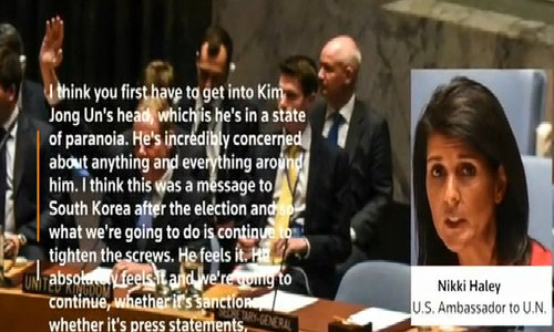 Haley says North Korea's leader in 'state of paranoia'