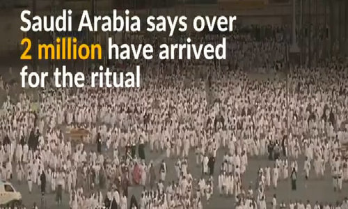 Muslims gather at Mount Arafat for haj climax