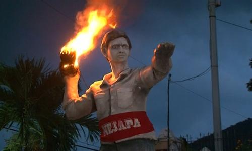 Fireballs streak through the air in Salvadorean town as part of annual festival