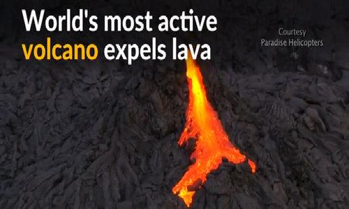 Hawaii volcano expels lava in spectacular eruption