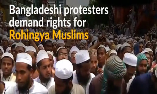 Protesters in Bangladesh demand rights for Rohingya Muslims