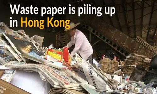 Waste paper piles up in Hong Kong amid China ban