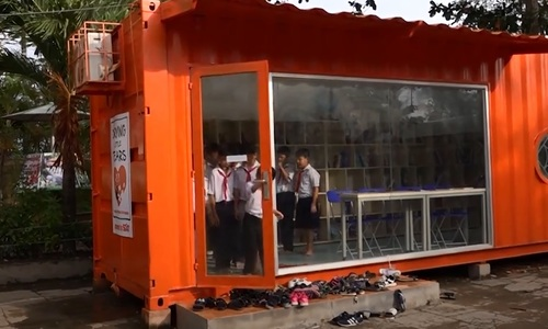 Shipping container converted into library for schoolkids in Vietnam's Mekong Delta