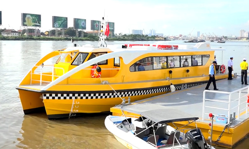 The finishing touches to Saigon's first river bus station