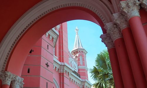 The pink church that snap-happy worshippers in Saigon