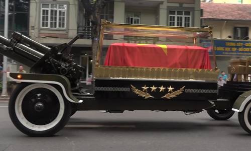 President Tran Dai Quang's coffin is carried on Hanoi streets