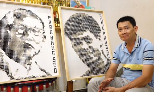 Football fan nails perfect portraits of Vietnam coach and star player from screws
