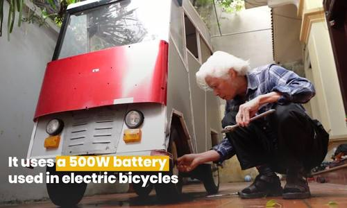 70-year-old teacher fashions electric car from junk