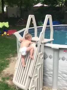 Video bé 2 tuổi trèo thang chắn vào bể bơi hút 22 triệu lượt xem