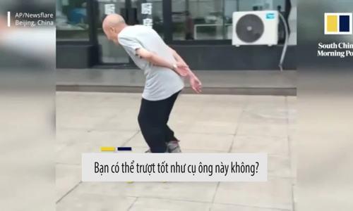 Cụ ông 88 tuổi trượt patin điêu luyện trên vỉa hè
