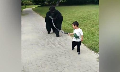 Bố đóng giả khỉ đột để con dắt đi chơi - ảnh 1