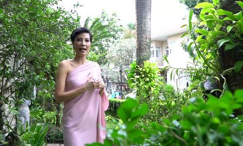 Vườn nhiệt đới trong biệt thự có khuôn viên rộng 500 m2 của Vũ cẩm Nhung