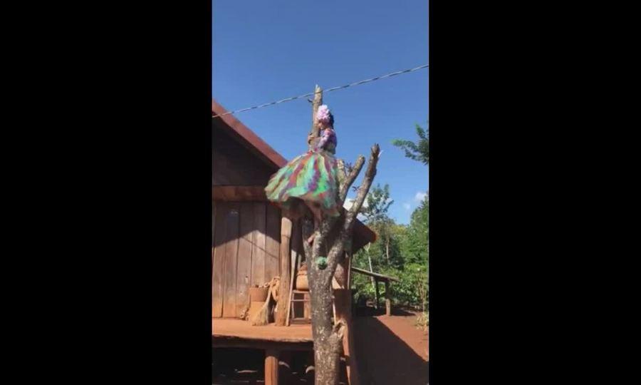 H'Hen Niê trèo cây chụp ảnh