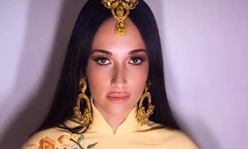 Ca sĩ Mỹ mặc áo dài Việt không quần - ảnh 1
