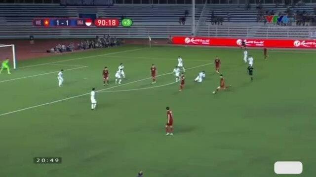 Khoảnh khắc ghi bàn thắng bùng nổ của Hoàng Đức trước Indonesia
