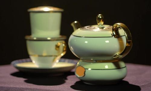 Bộ bình trà bằng sứ pha phin