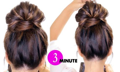 3 phút tạo kiểu tóc búi phồng cánh hoa điệu đà