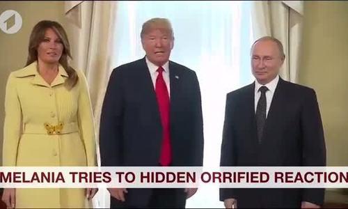 Biểu cảm kỳ lạ của bà Melania sau khi bắt tay ông Putin gây sốt