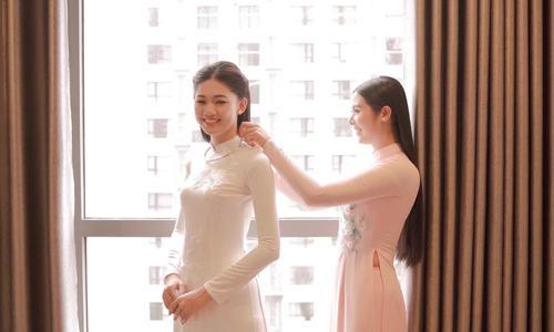 Cận cảnh quá trình Hoa hậu Ngọc Hân thiết kế áo dài cho Á hậu Thanh Tú