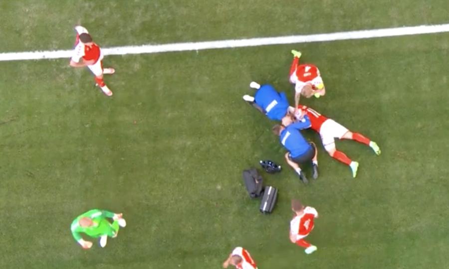 Cầu thủ Đan Mạch bất tỉnh trong trận đấu gặp Phần Lan