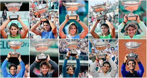 10 lần Nadal vô địch Roland Garros