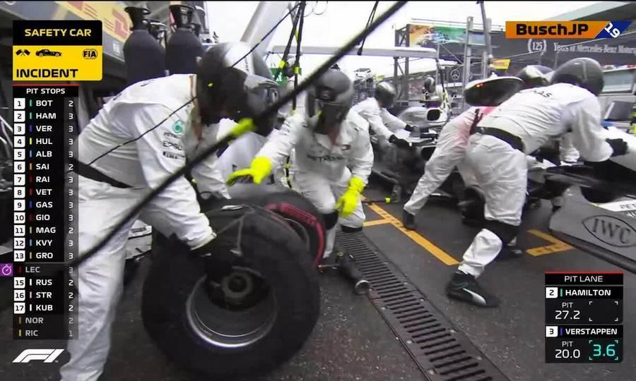 Hamilton vào pit 50 giây