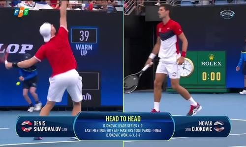 Novak Djokovic 2-1 Denis Shapovalov