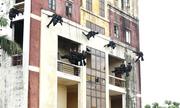 Cảnh sát đặc nhiệm diễn tập đu dây, trèo tường giải cứu con tin