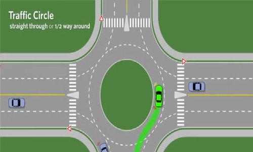 Ôtô qua vòng xuyến nên bật xi-nhan hai lần