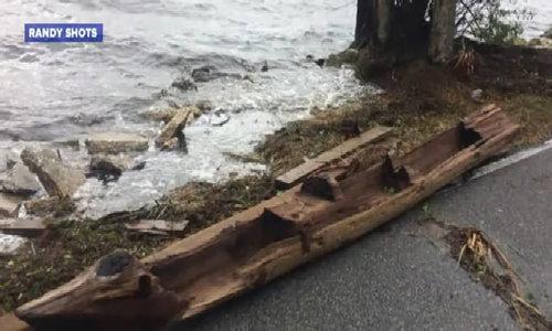 Thuyền độc mộc hàng trăm tuổi phát lộ sau bão Irma