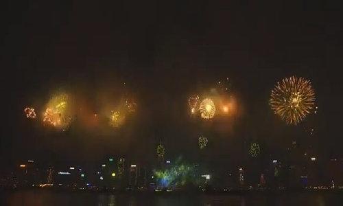 Pháo hoa rực sáng bầu trời Hong Kong