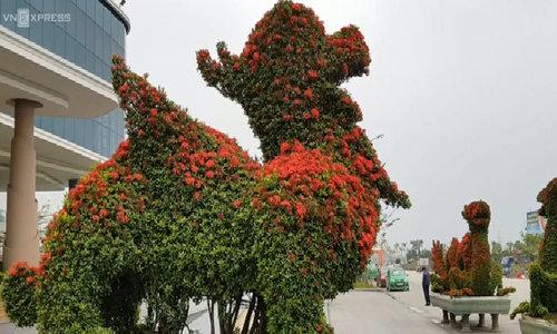 Linh vật hình con chó được kết từ nhiều cây hoa mẫu đơn