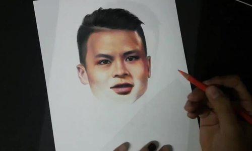Chàng trai vẽ chân dung Quang Hải U23 Việt Nam suốt 16 giờ