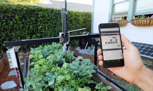 Robot giúp trồng rau trong vườn nhà