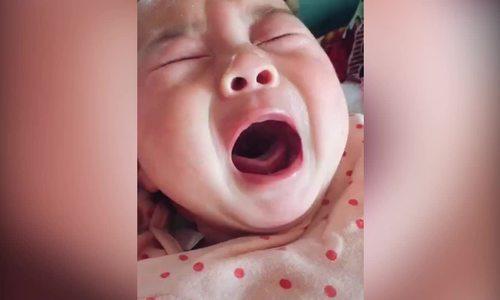 Em bé giả vờ khóc ăn vạ khiến nhiều người bật cười