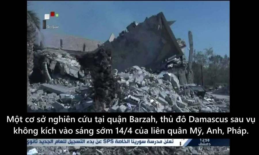 Khói bốc nghi ngút từ phòng thí nghiệm Syria sau không kích