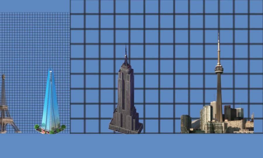So sánh chiều cao những kỳ quan nhân tạo trên thế giới