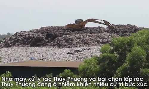 Rác thải chất cao như núi ở nhà máy xử lý rác Thủy Phương